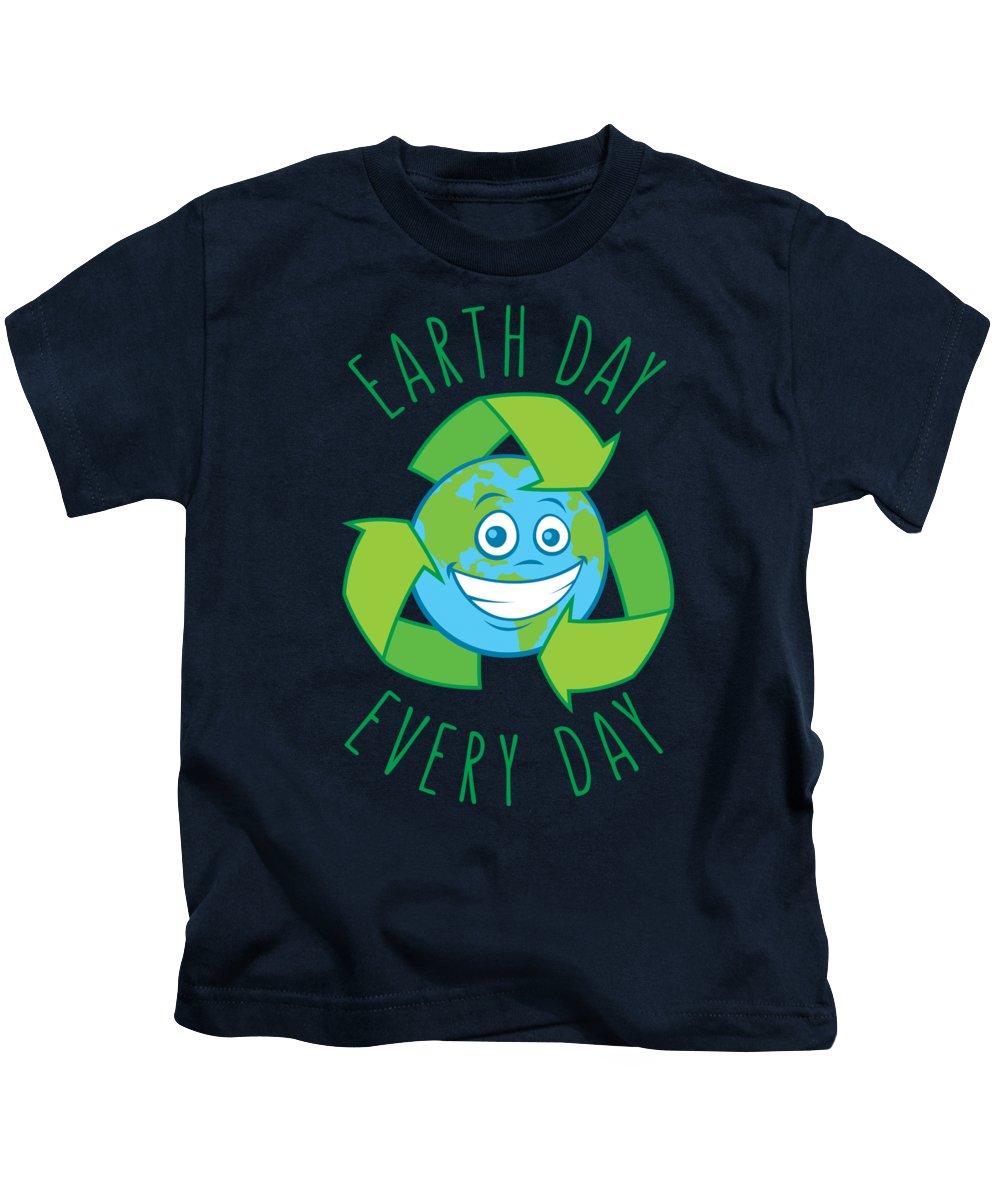 Green Kids T-Shirt featuring the digital art Earth Day Every Day Recycle Cartoon by John Schwegel