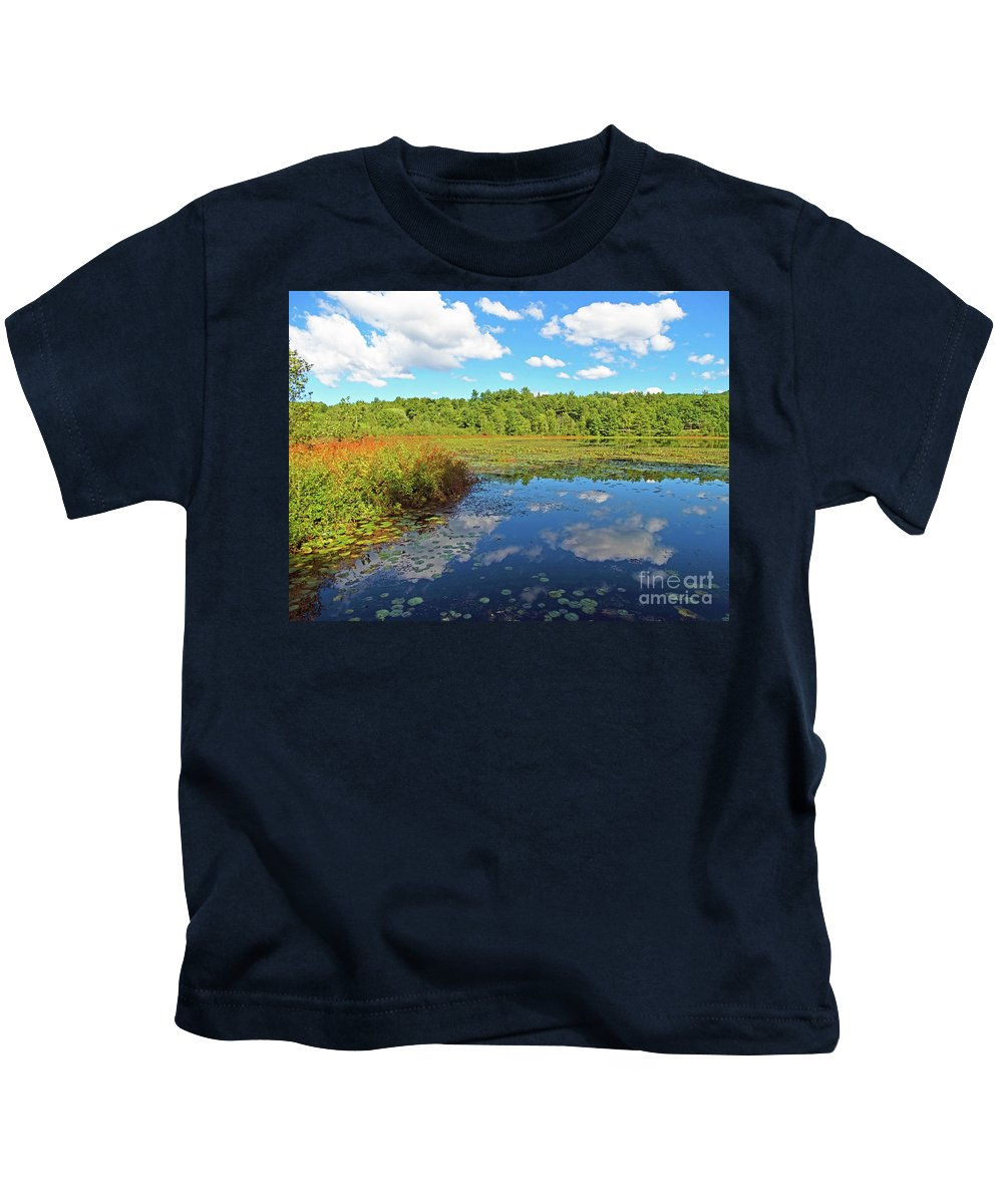 Lily Pond Autumn Lake St Catherine Poultney Vermont Kids T-Shirt featuring the photograph Hint Of Autumn by Karen Velsor