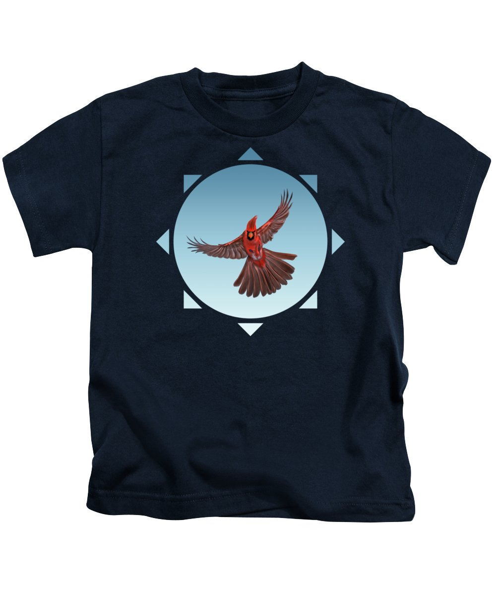 Cardinal Kids T-Shirt featuring the digital art I Know What He Saw In That Reflection Of Light by Vince Diodato