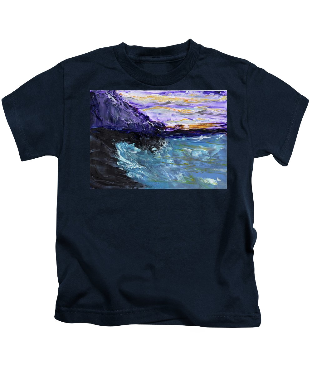 Seascape Kids T-Shirt featuring the painting Lava Cove by Diane Maley