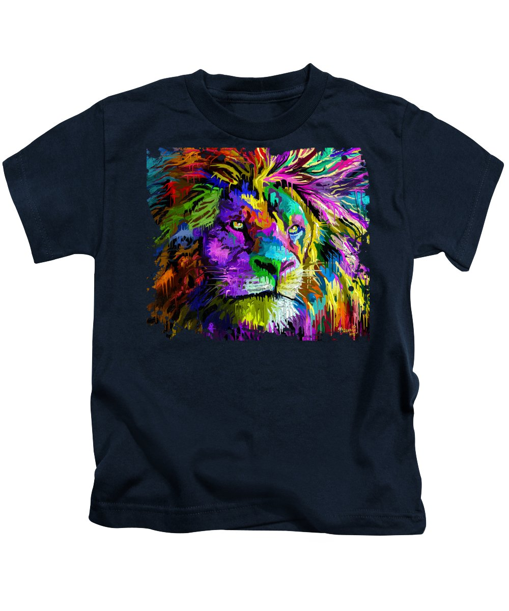 Painting Kids T-Shirt featuring the painting Lion Head by Anthony Mwangi