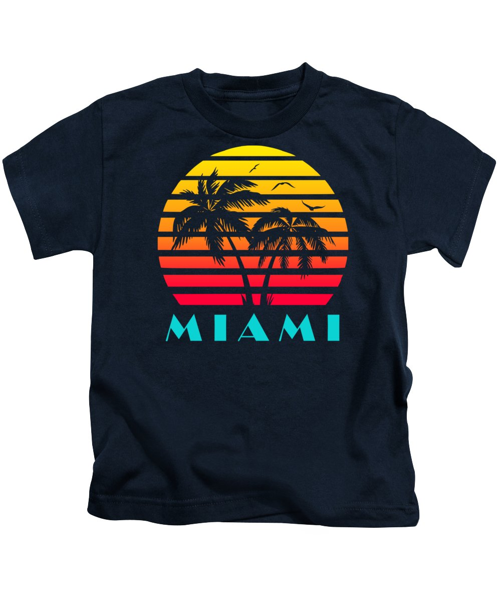 This Cool And Awesome Tee Shirt Features A Classic Vintage Sunset Inspired By Retro Vhs Tapes Of Famous Tv Shows And Movie Posters. Palm Trees And Seagulls In Front Of A Beautiful Tropical Sun That Glows In Yellow Kids T-Shirt featuring the digital art Miami 80s Tropical Sunset by Filip Schpindel