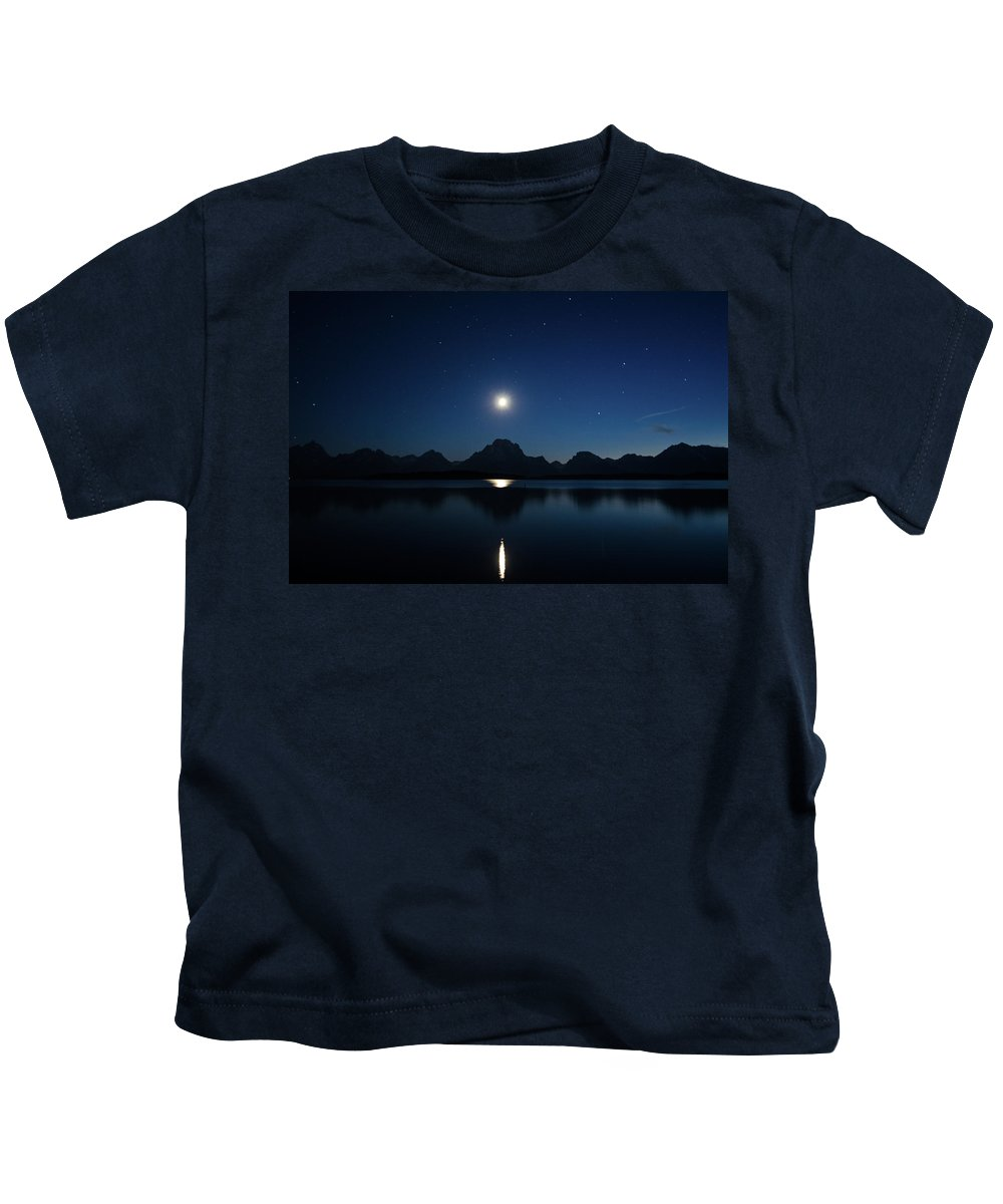 Reflection Kids T-Shirt featuring the photograph Moonset Reflection by Jason Bohl