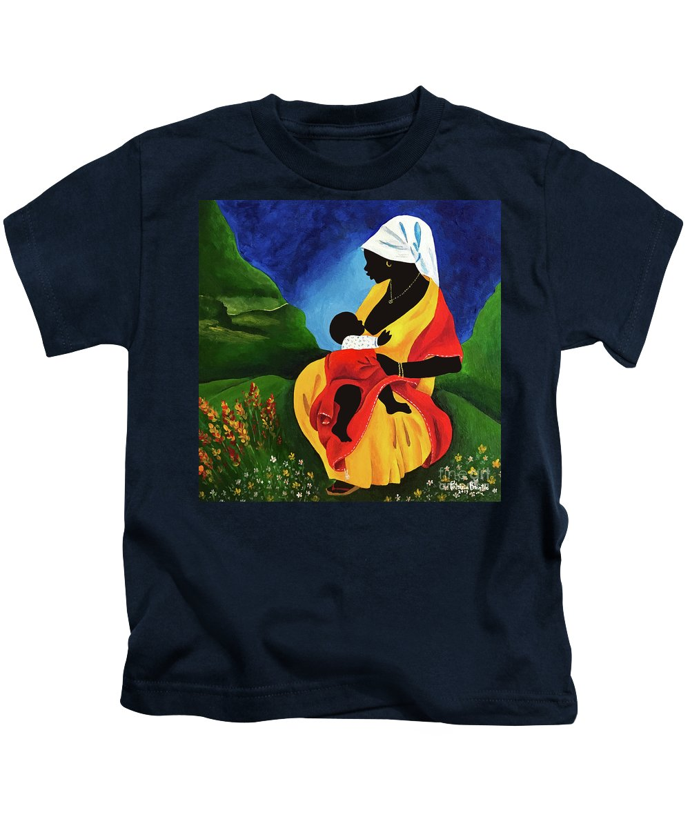 Saint Kids T-Shirt featuring the painting Motherhood by Patricia Brintle