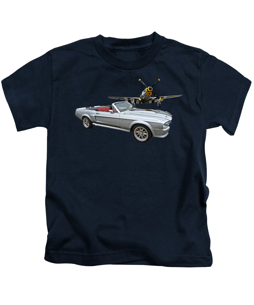 P-51 Kids T-Shirt featuring the photograph P51 Meets Eleanor by Gill Billington