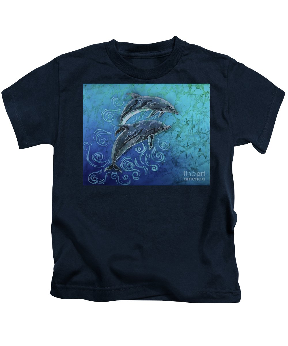 Porpoise Kids T-Shirt featuring the painting Porpoise Pair by Sue Duda