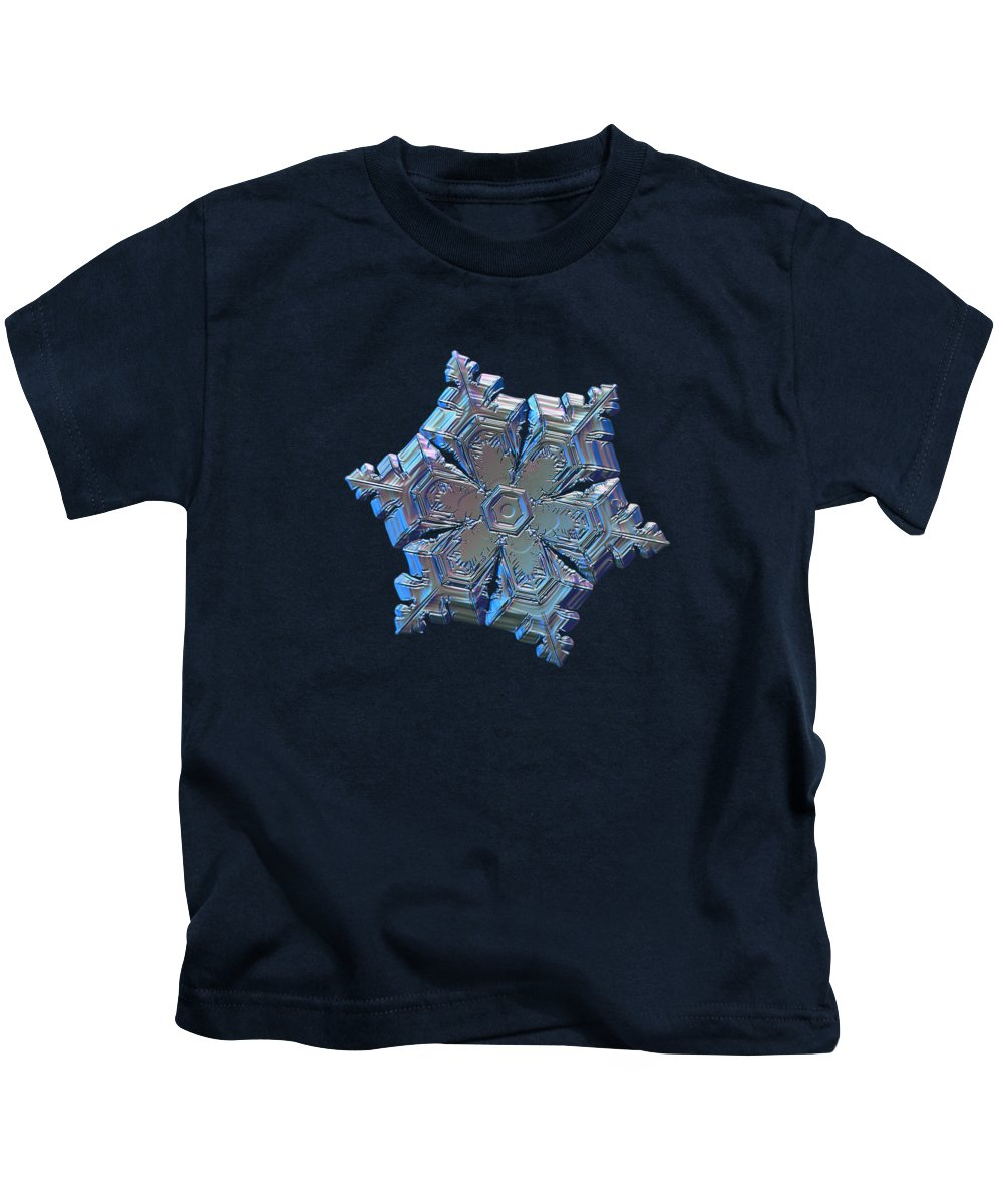 Snowflake Kids T-Shirt featuring the photograph Real Snowflake - 05-feb-2018 - 12 by Alexey Kljatov