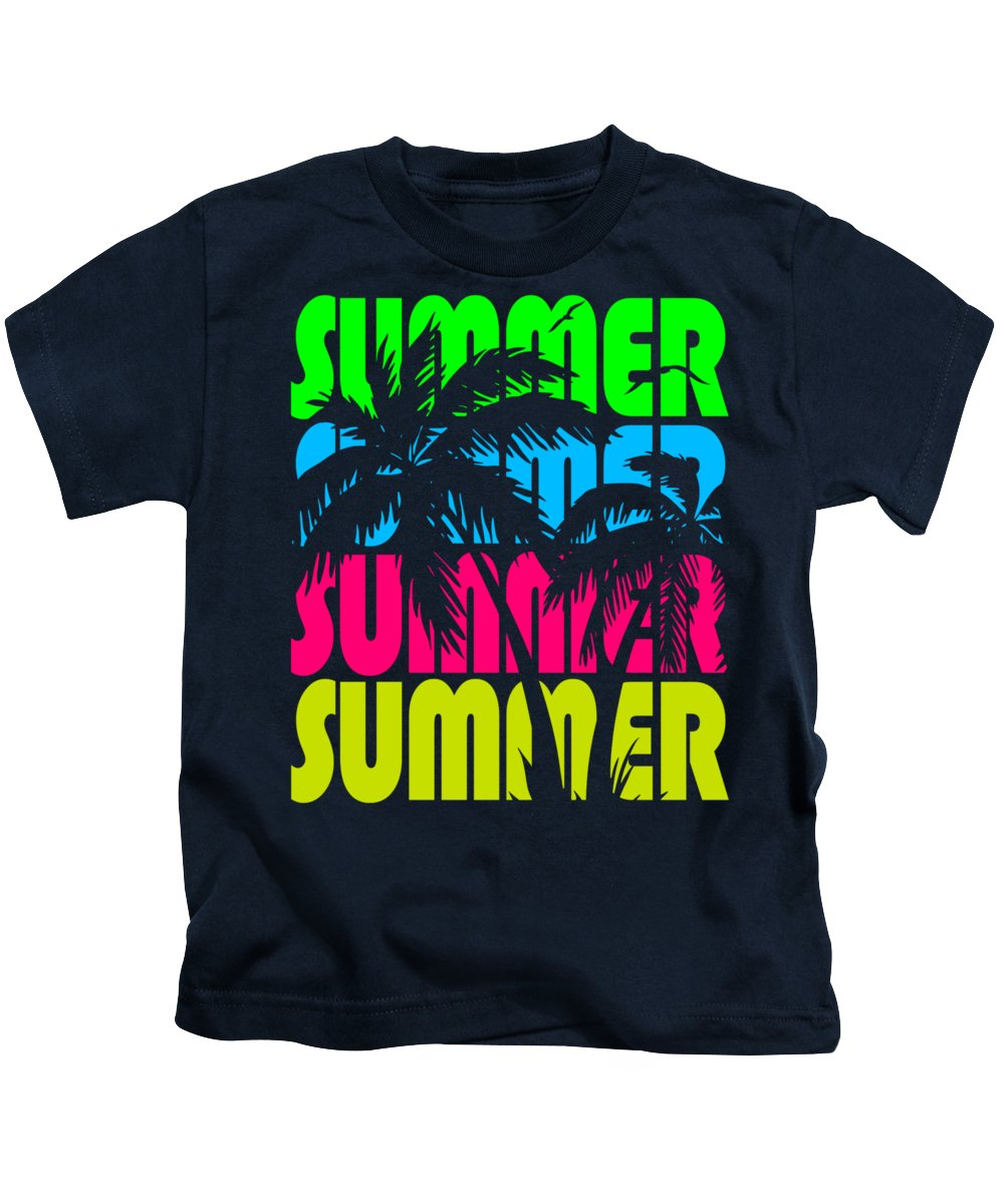 Sunset Kids T-Shirt featuring the digital art Summer Palm Trees by Filip Hellman