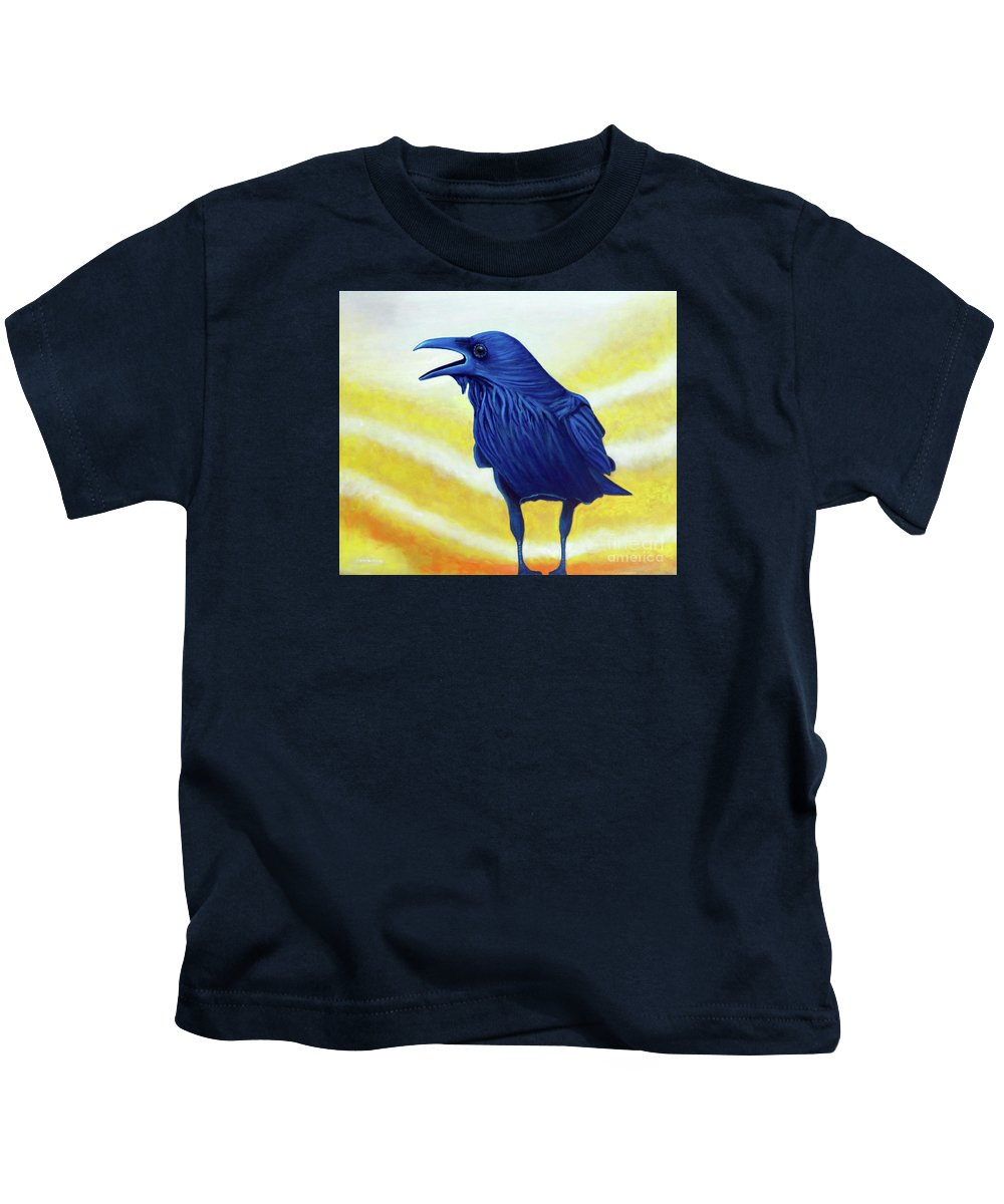 Raven Kids T-Shirt featuring the painting The Conversation by Brian Commerford