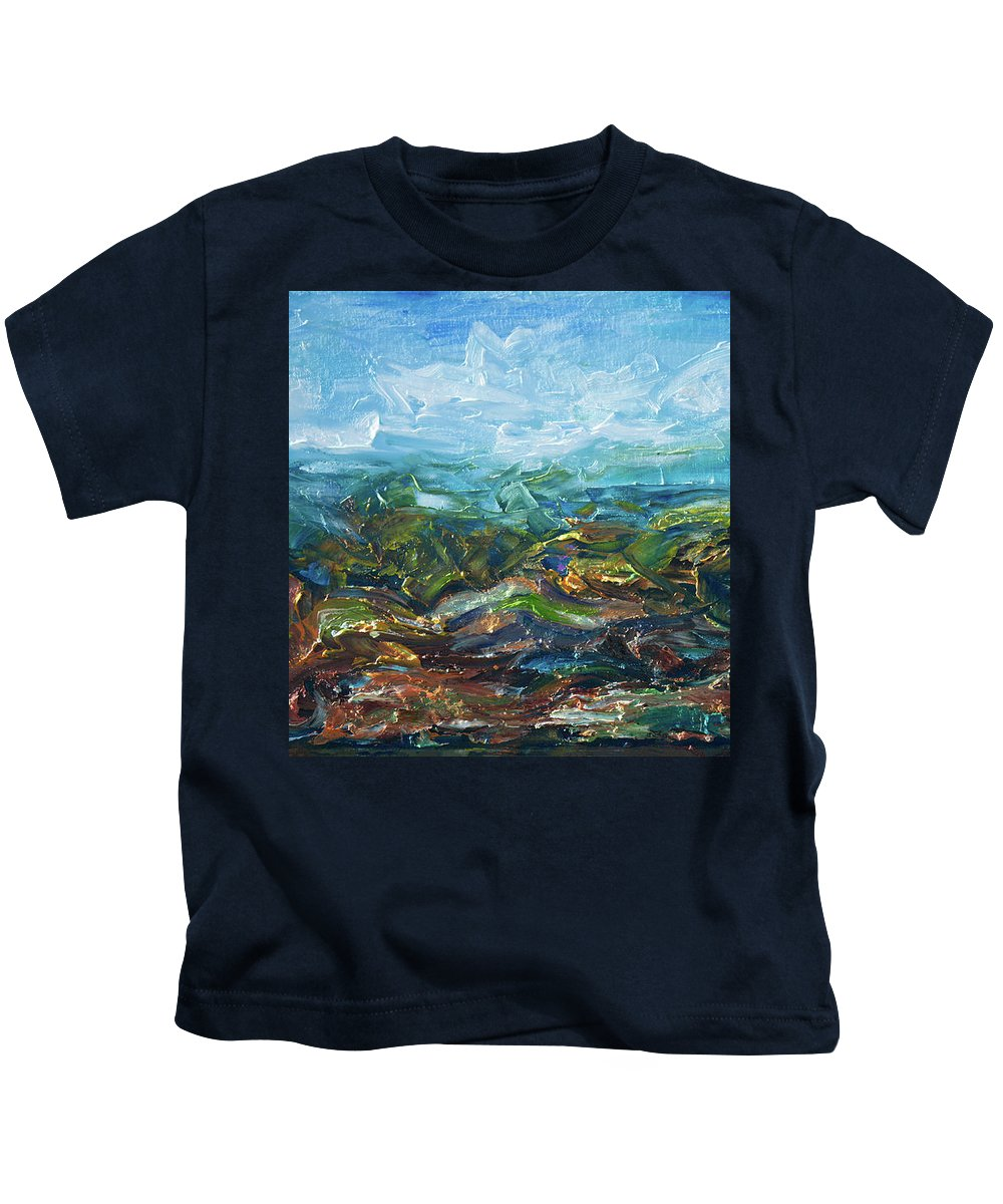 Olena Art Kids T-Shirt featuring the painting Windy Day In The Grassland. Original Oil Painting Impressionist Landscape. by OLena Art Brand