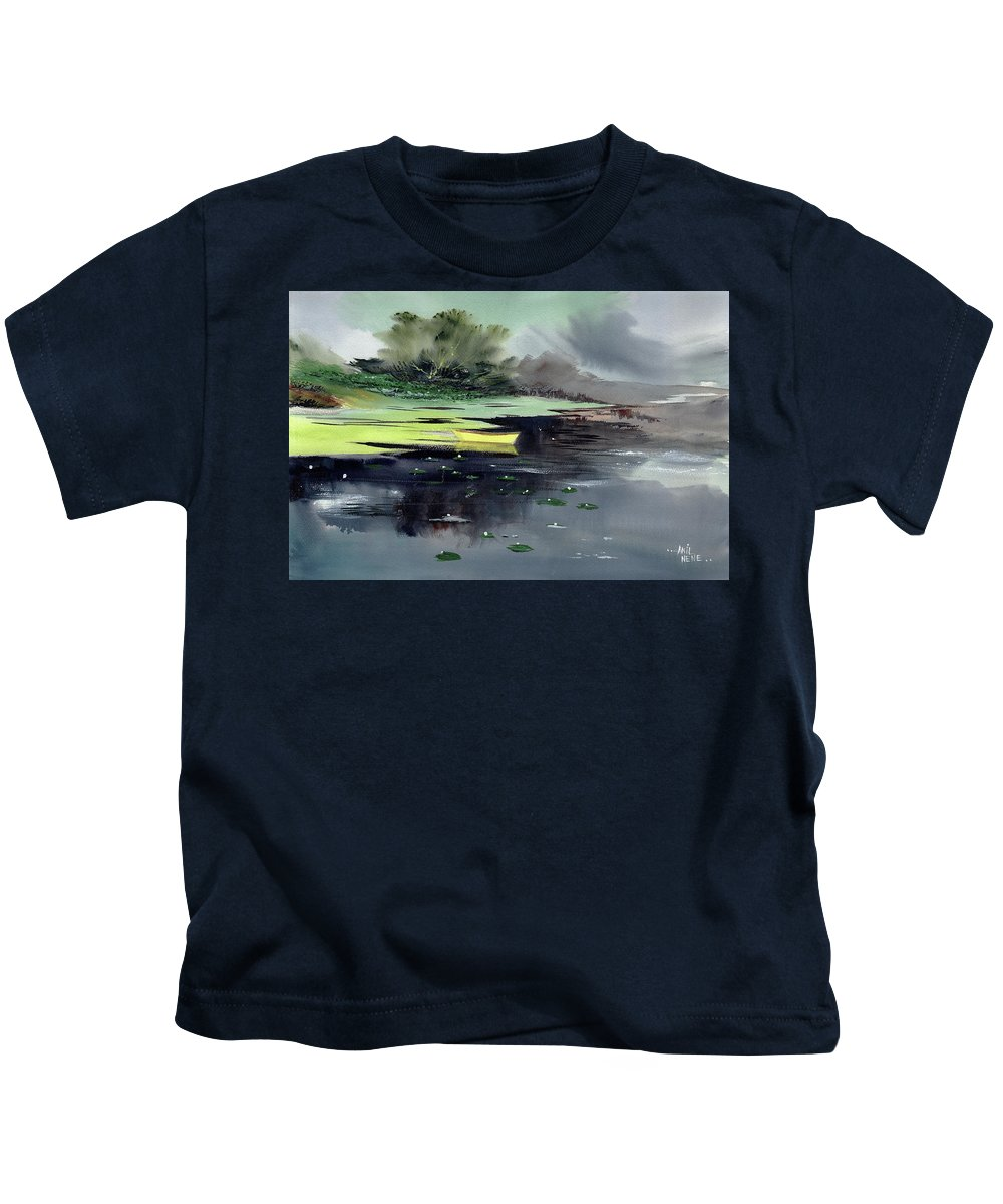 Nature Kids T-Shirt featuring the painting Yellow Boat by Anil Nene