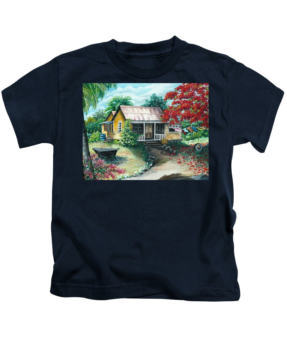 Landscape Painting Caribbean Painting Tropical Painting Island House Painting Poinciana Flamboyant Tree Painting Trinidad And Tobago Painting Kids T-Shirt featuring the painting Trinidad Life by Karin Dawn Kelshall- Best