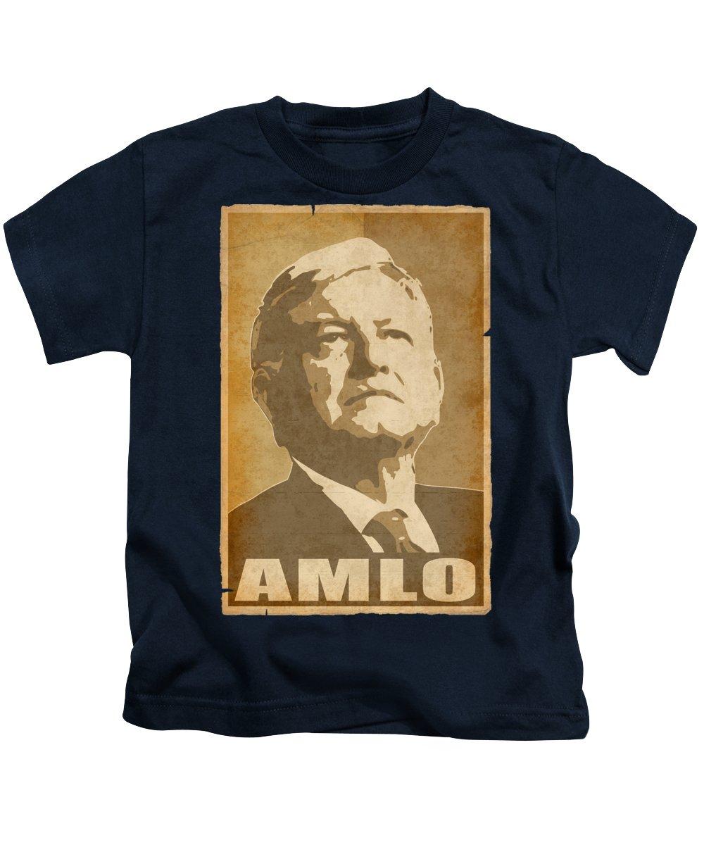 Amlo Kids T-Shirt featuring the digital art Amlo Propaganda by Filip Schpindel