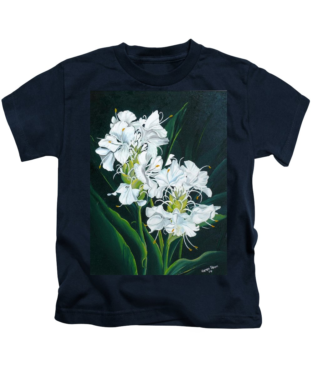 Caribbean Painting Butterfly Ginger Painting Floral Painting Botanical Painting Flower Painting Water Ginger Painting Or Water Ginger Tropical Lily Painting Original Oil Painting Trinidad And  Tobago Painting Tropical Painting Lily Painting White Flower Painting Kids T-Shirt featuring the painting Butterfly Ginger by Karin Dawn Kelshall- Best