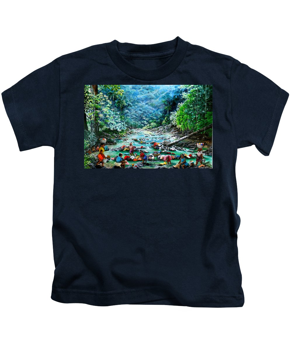 Land Scape Painting River Painting Mountain Painting Rain Forest Painting Washerwomen Painting Laundry Painting Caribbean Painting Tropical Painting Village Washer Women At A Mountain River In Trinidad And Tobago Kids T-Shirt featuring the painting Caribbean Wash Day by Karin Dawn Kelshall- Best