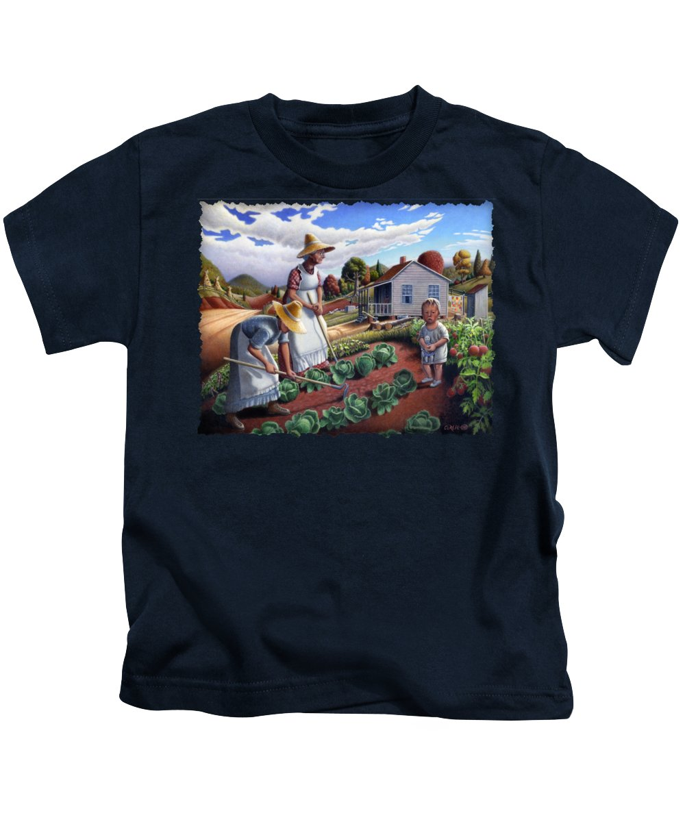 Farm Family Kids T-Shirt featuring the painting Family Vegetable Garden Farm Landscape - Gardening - Childhood Memories - Flashback - Homestead by Walt Curlee