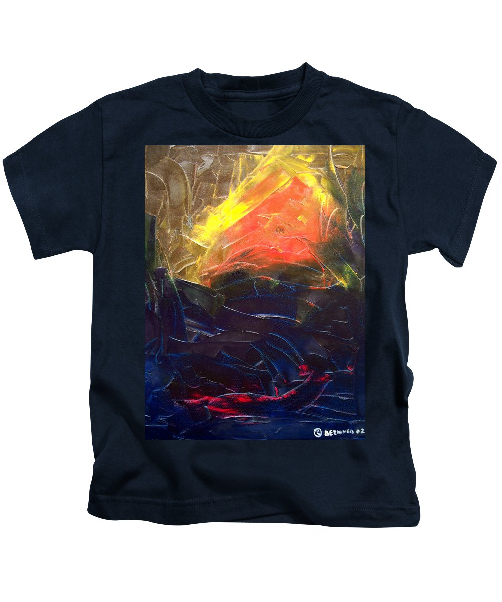 Duck Kids T-Shirt featuring the painting Forest .Part1 by Sergey Bezhinets