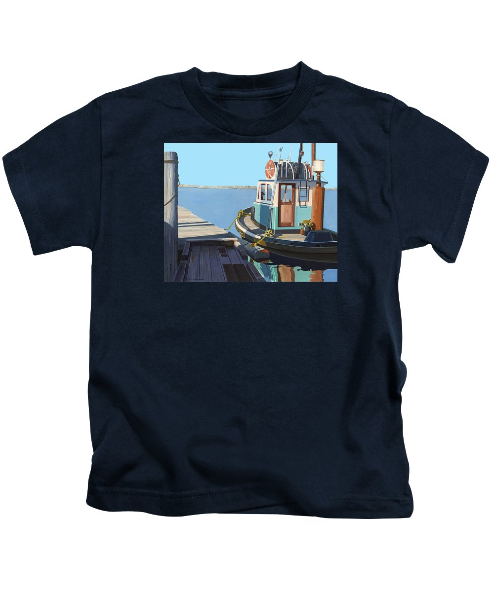 Tug Kids T-Shirt featuring the painting Fraser River tug by Gary Giacomelli