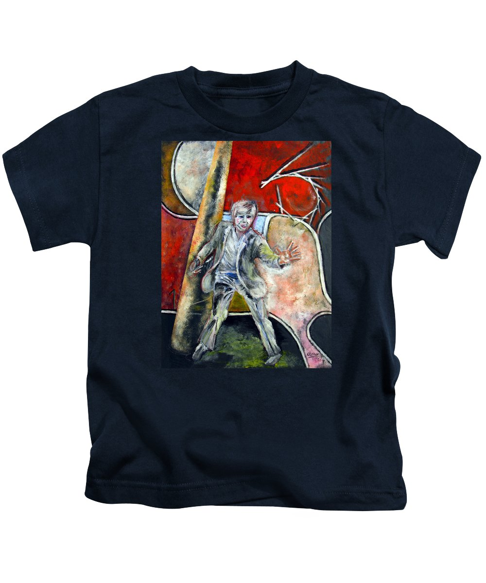 Male Kids T-Shirt featuring the painting Mad World by Tom Conway