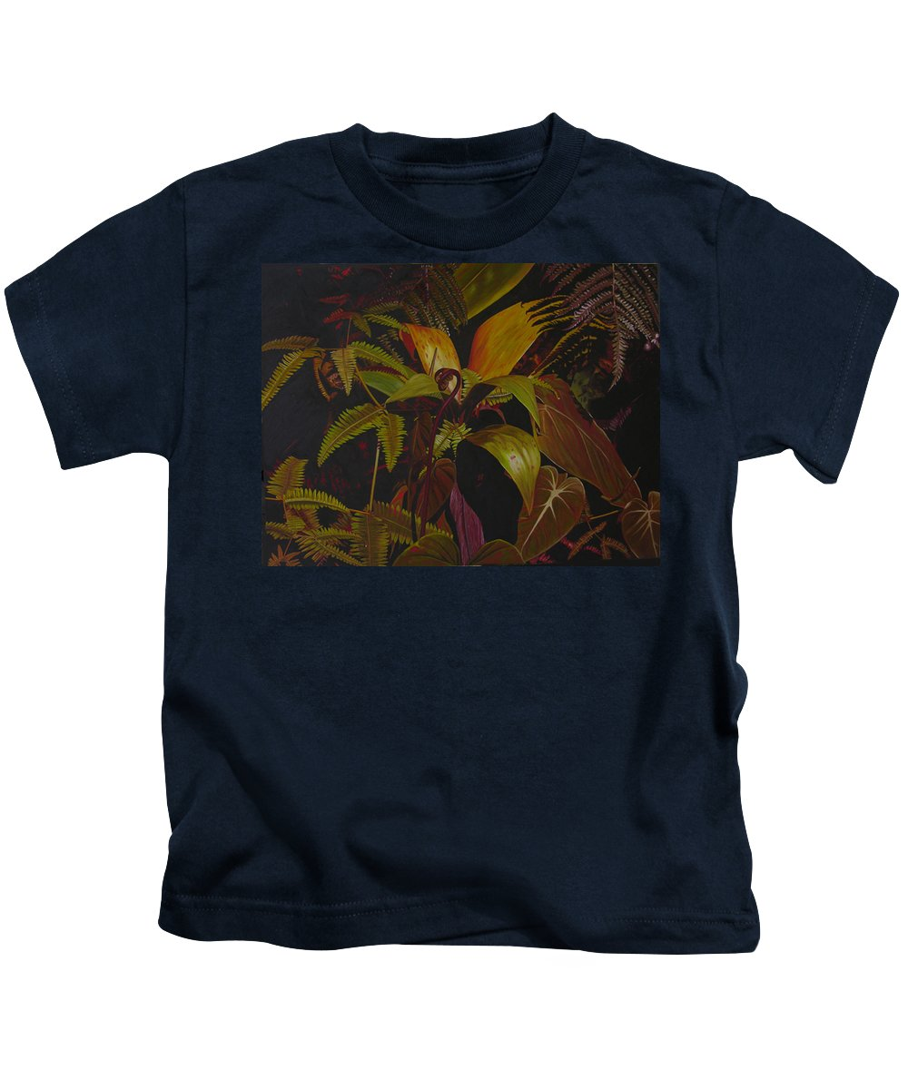 Plant Kids T-Shirt featuring the painting Midnight in the garden by Thu Nguyen