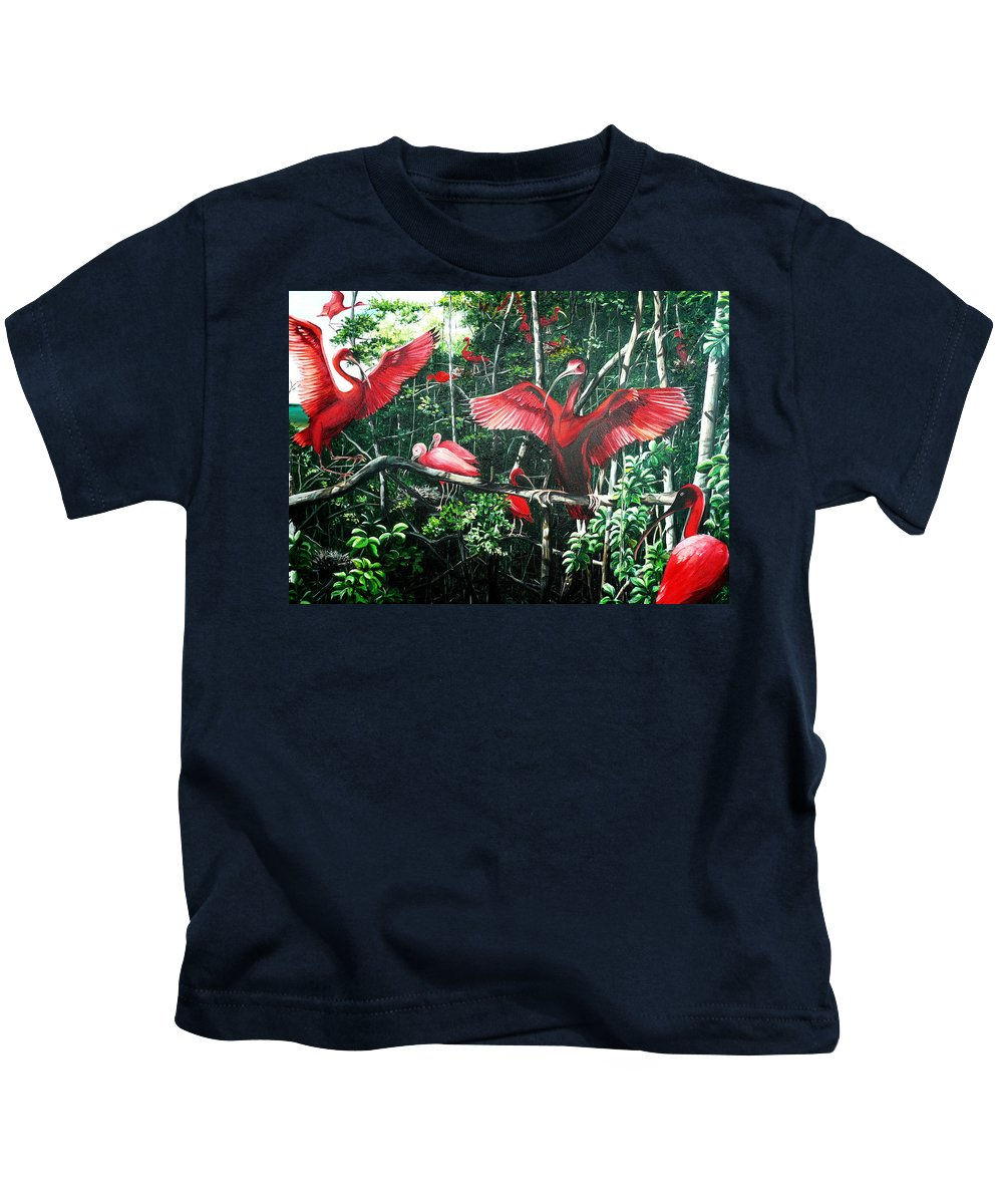 Caribbean Painting Scarlet Ibis Painting Bird Painting Coming Home To Roost Painting The Caroni Swamp In Trinidad And Tobago Greeting Card Painting Painting Tropical Painting Kids T-Shirt featuring the painting Scarlet Ibis by Karin Dawn Kelshall- Best