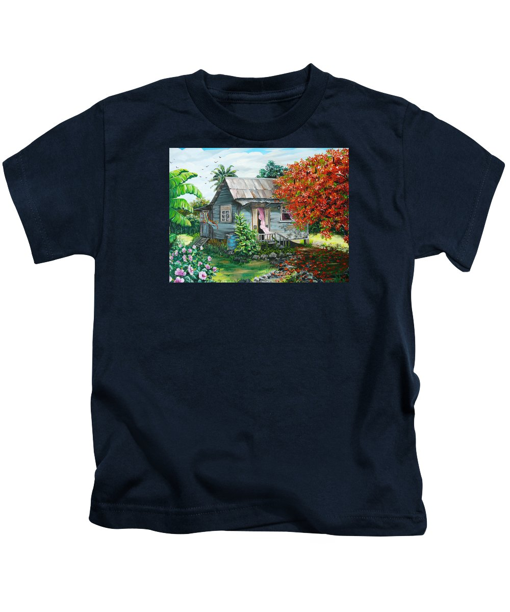 Caribbean Painting Original Painting Trinidad And Tobago ..house Painting Flamboyant Tree Painting Red Blossoms Painting Floral Painting Tree Painting Tropical Painting Kids T-Shirt featuring the painting Sweet Tobago Life. 2 by Karin Dawn Kelshall- Best
