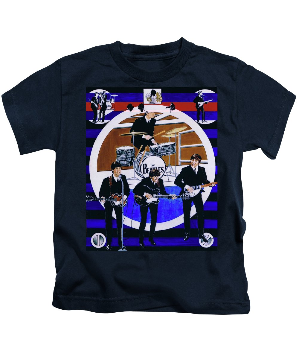 The Beatles Live Kids T-Shirt featuring the drawing The Beatles - Live On The Ed Sullivan Show by Sean Connolly