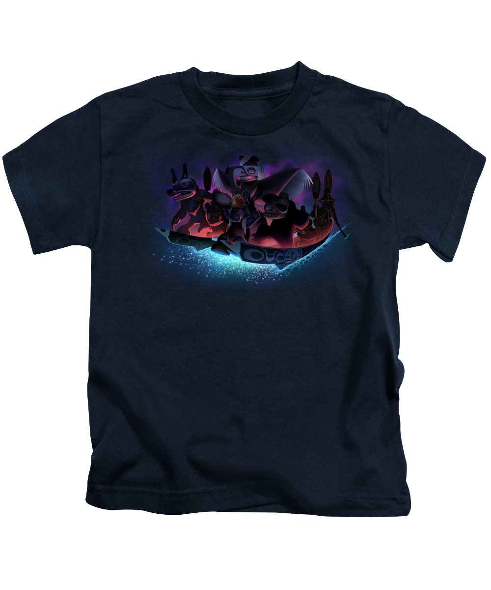 Haida Kids T-Shirt featuring the digital art The Future has Arrived by Derek Edenshaw and Dedos