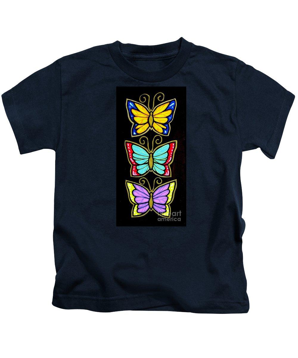 Butterflies Kids T-Shirt featuring the painting Three Gilded Butterflies by Jim Harris