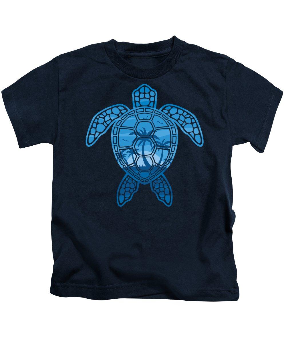 Blue Kids T-Shirt featuring the digital art Tropical Island Sea Turtle Design in Blue by John Schwegel