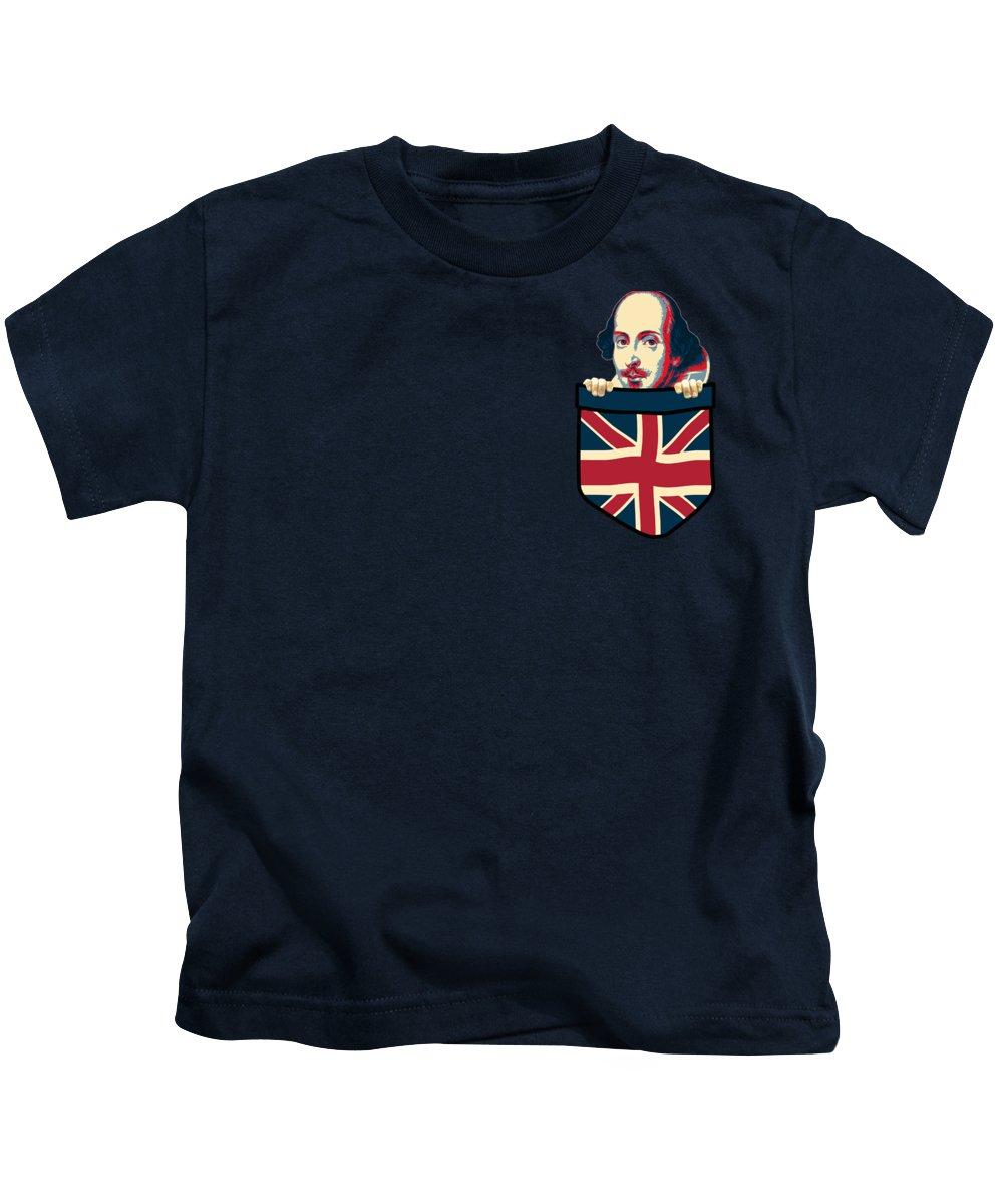 Uk Kids T-Shirt featuring the digital art William Shakespeare Chest Pocket by Filip Schpindel