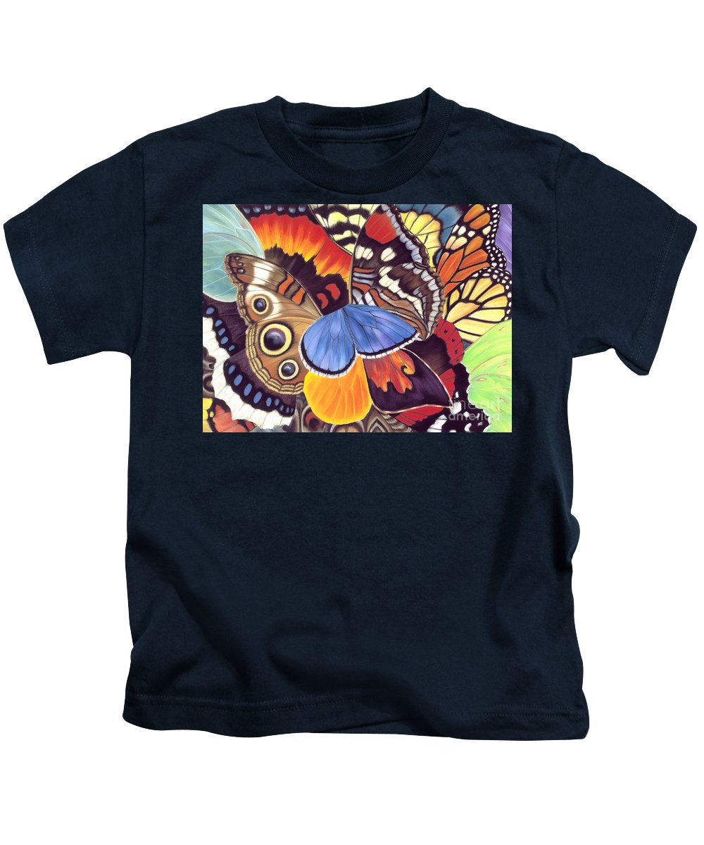 Butterflies Kids T-Shirt featuring the painting Wings Of California by Lucy Arnold