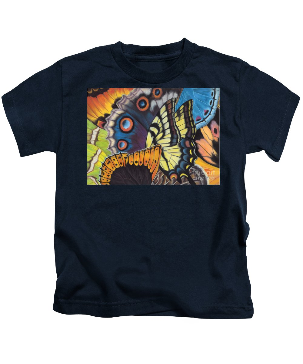 Butterflies Kids T-Shirt featuring the painting Wings of North Amerca by Lucy Arnold