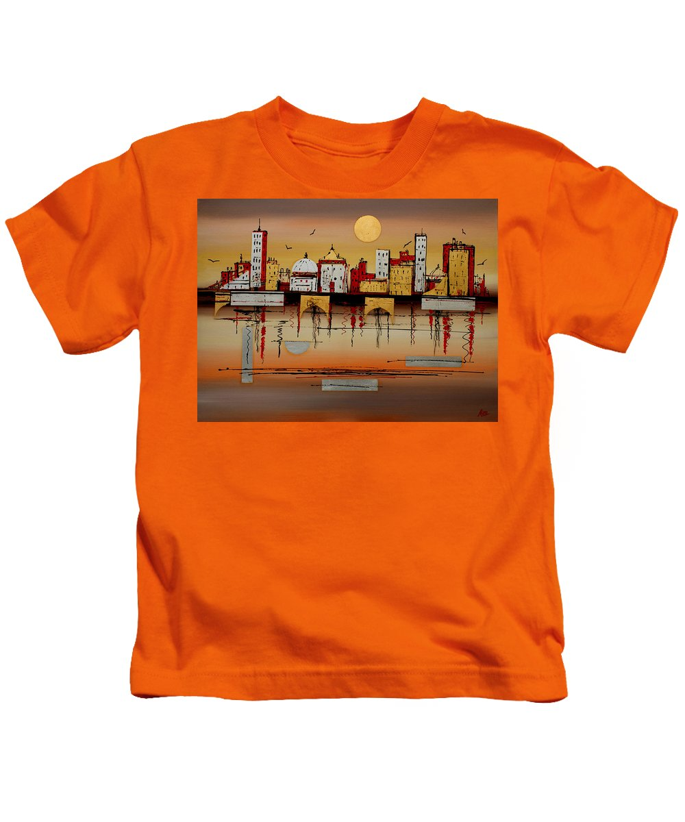 Abstract Kids T-Shirt featuring the painting Urban Landscape by Miroslav Stojkovic - Miro
