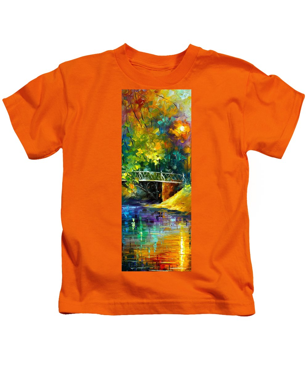 Afremov Kids T-Shirt featuring the painting Aura Of Autumn 3 by Leonid Afremov