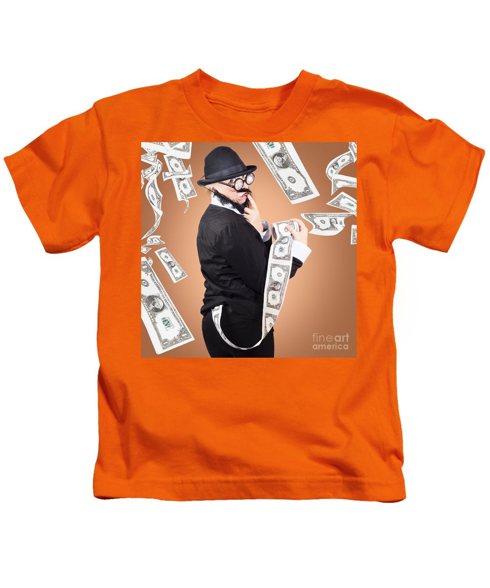 Backside Kids T-Shirt featuring the photograph Corrupt Business Man Money Laundering Us Dollars by Jorgo Photography - Wall Art Gallery