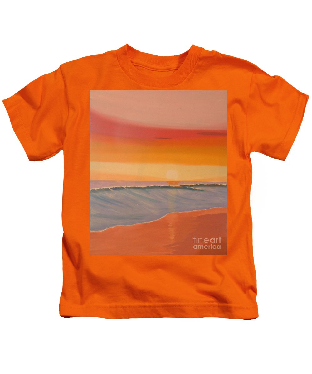 Mission Beach Kids T-Shirt featuring the painting Evening At Mission Beach by Don Monahan
