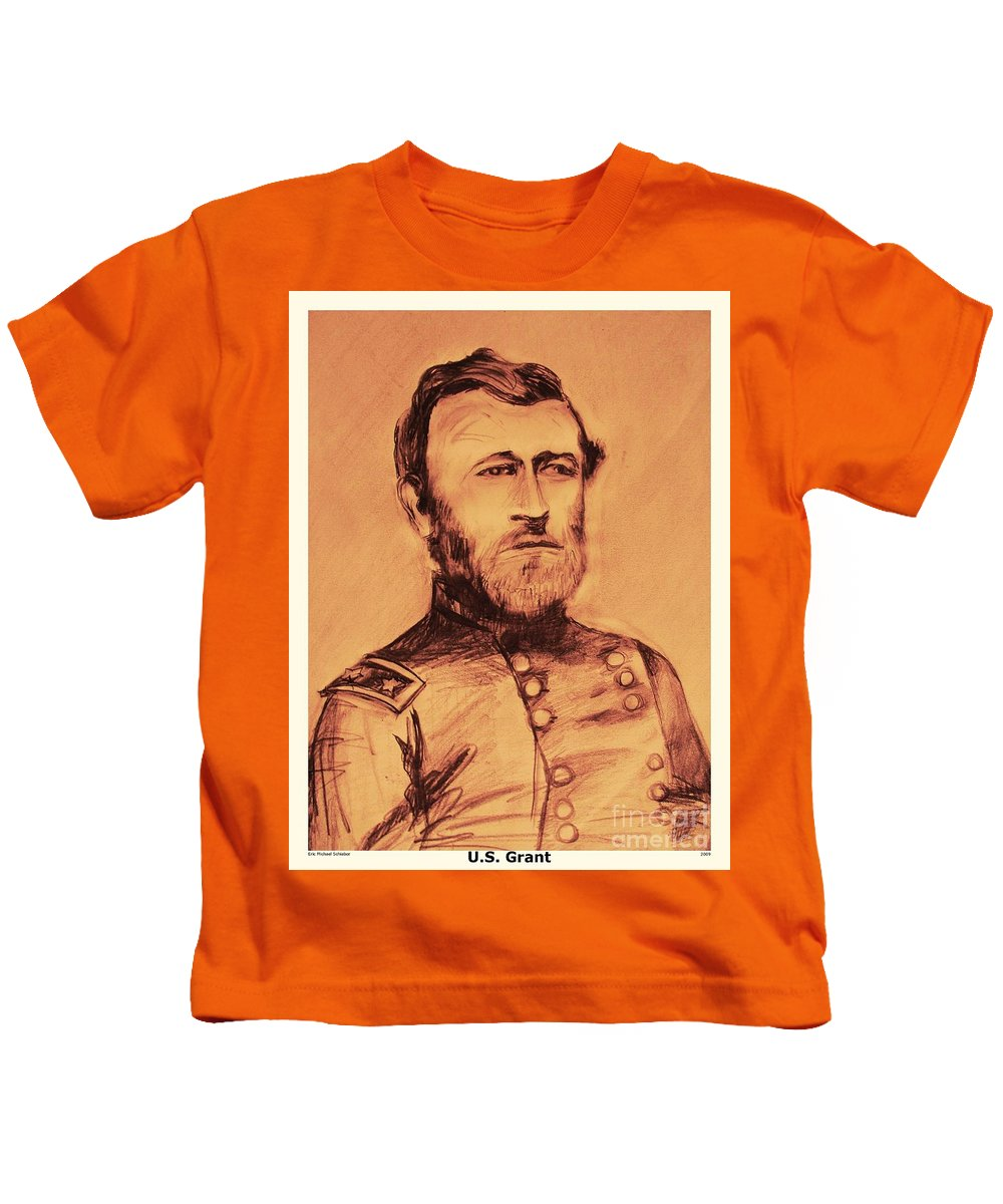 Grant Kids T-Shirt featuring the painting General Us Grant by Eric Schiabor