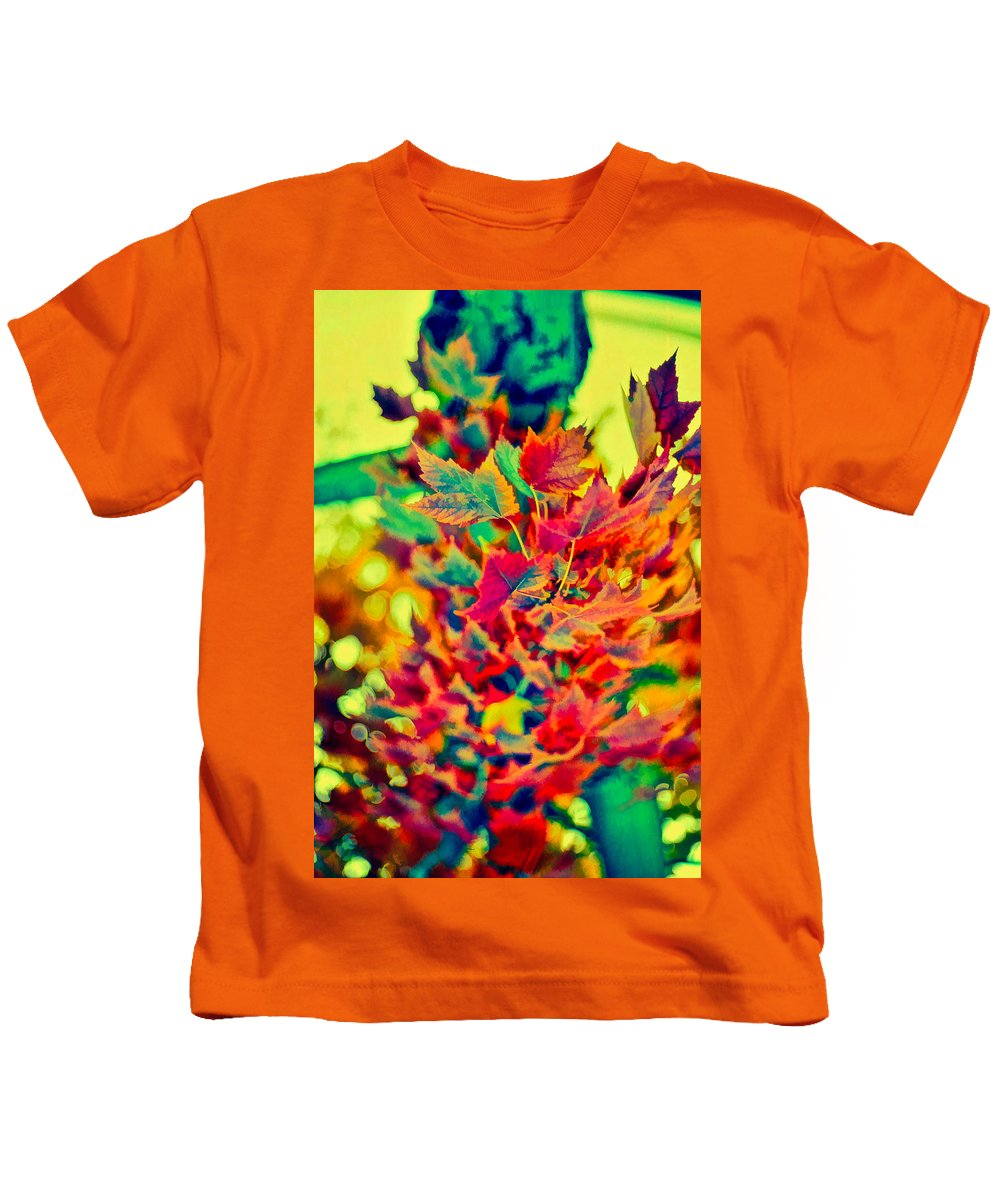 Leaves Kids T-Shirt featuring the photograph Leaves In Abstract by Cathy Anderson