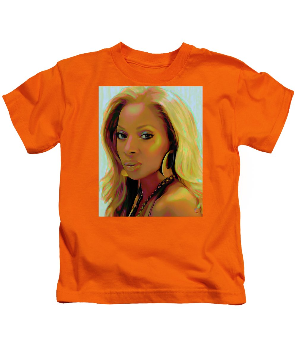 Mary J Blige Kids T-Shirt featuring the painting Mary J Blige by Fli Art