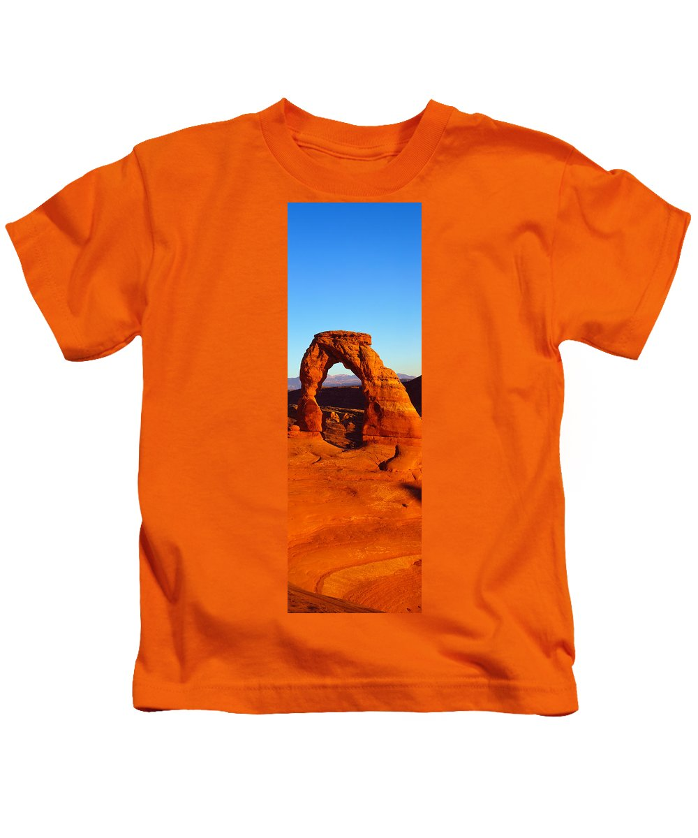 Photography Kids T-Shirt featuring the photograph Natural Arch In A Desert, Delicate by Panoramic Images