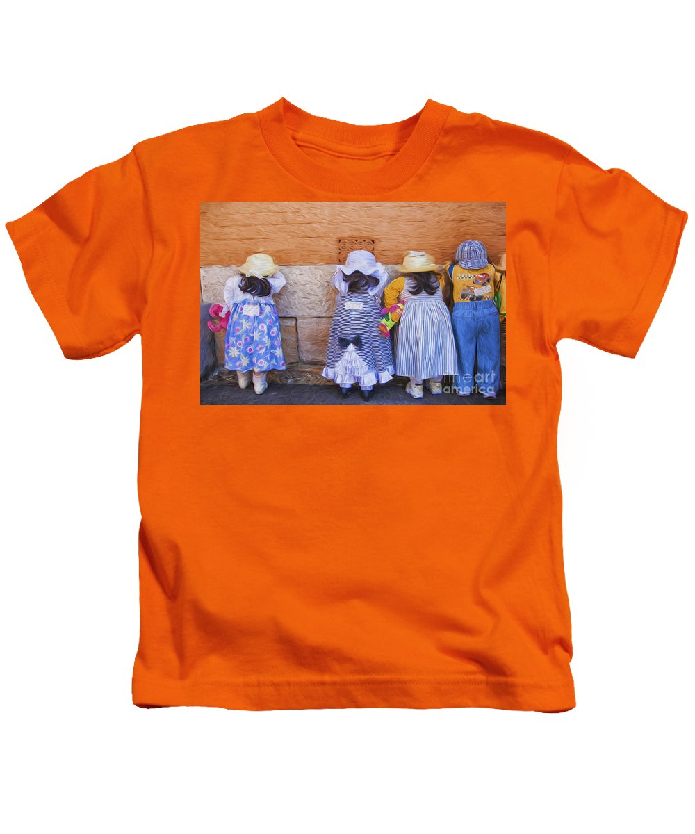 Dolls Kids T-Shirt featuring the photograph Someone has stolen Dolly by Sheila Smart Fine Art Photography