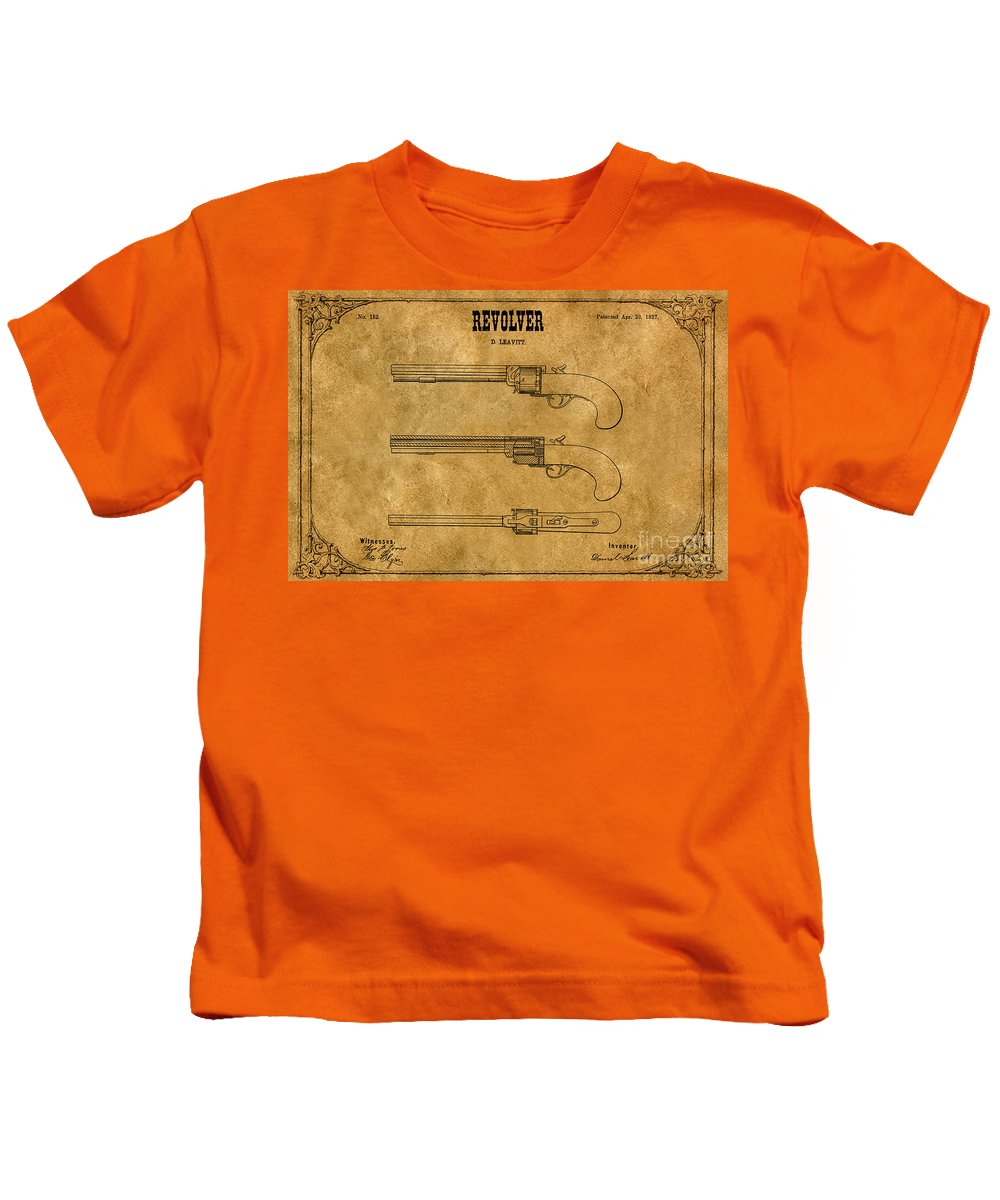 Leavitt Revolver Patent Kids T-Shirt featuring the digital art 1837 Leavitt Revolver Patent Art 1 by Nishanth Gopinathan