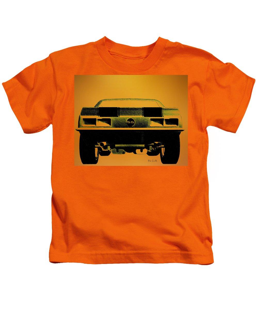1968 Camaro Ss Kids T-Shirt featuring the drawing 1968 Camaro Ss Full Rear by Bob Orsillo