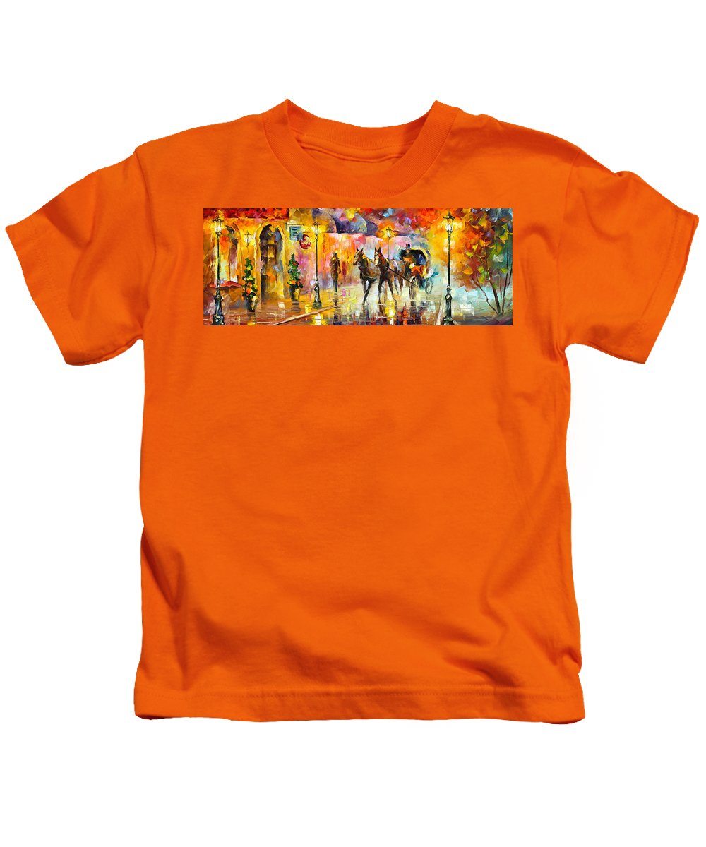 Horse Kids T-Shirt featuring the painting 19th Century Mood by Leonid Afremov