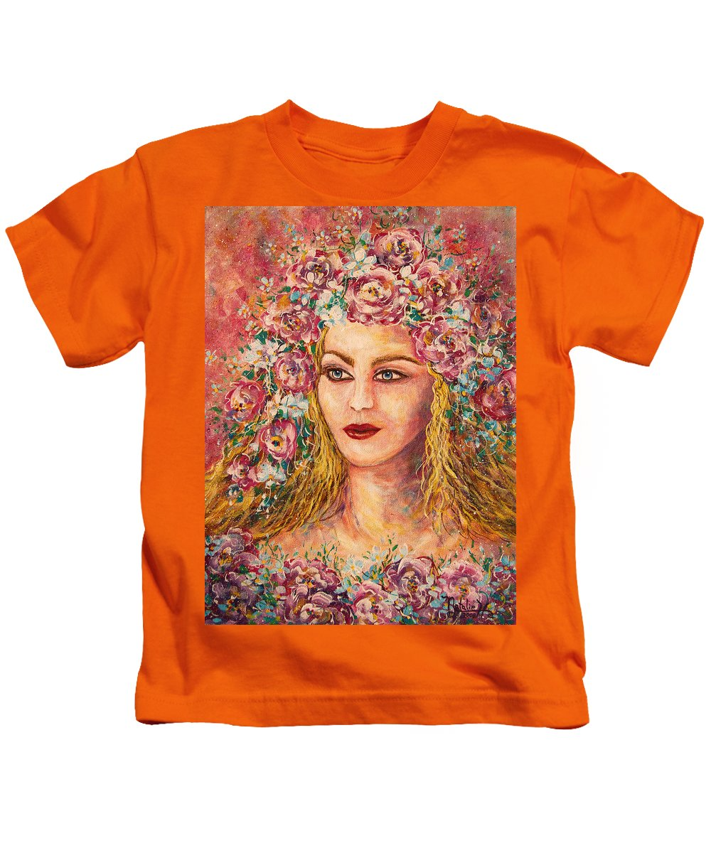 Goddess Kids T-Shirt featuring the painting Good Fortune Goddess by Natalie Holland