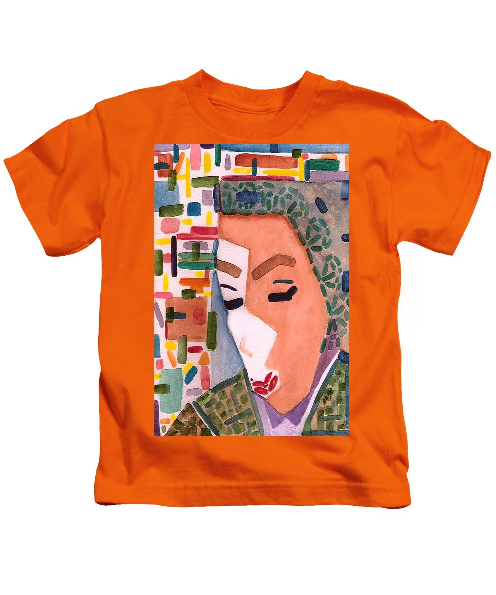 Watercolor Kids T-Shirt featuring the painting One Ringy Dingy by Paula Ayers