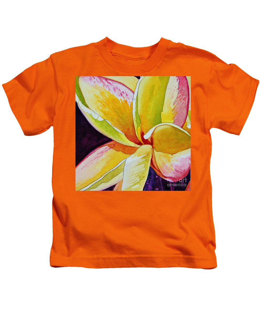 Plumeria Kids T-Shirt featuring the painting Plumeria by Terry Holliday