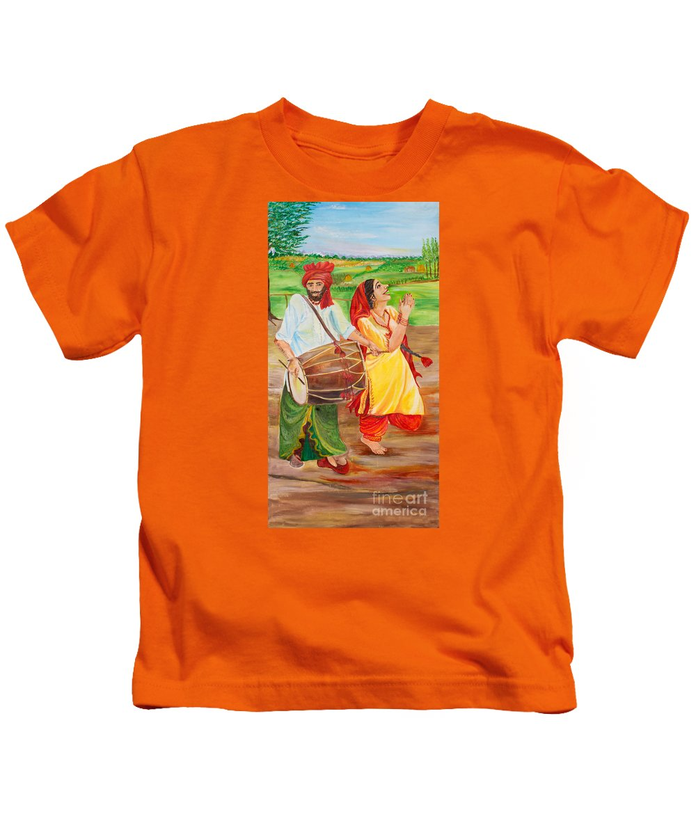 Vaisakhi Art Kids T-Shirt featuring the painting The Dhol Player by Sarabjit Singh