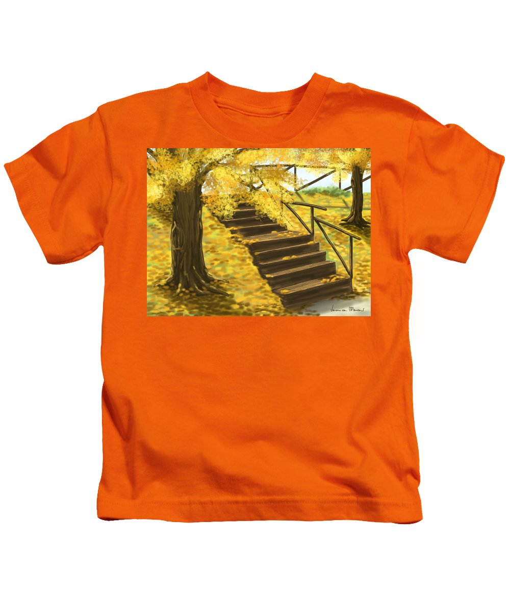 Yellow Kids T-Shirt featuring the painting Autumn by Veronica Minozzi